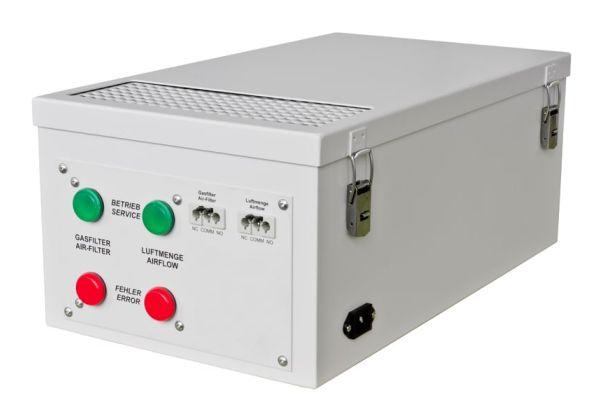 Recirculatie ventilator met koolstoffilter en flowbewaking
