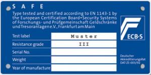 ECB.S Klasse III EN 1143-1 kluis