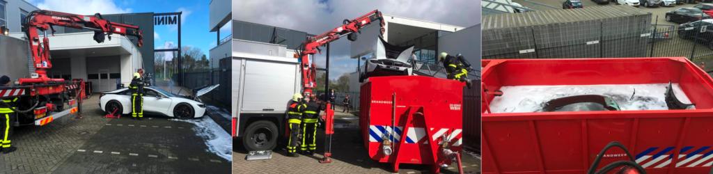 Brandweer blust elektrische BMW